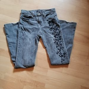 Grey DAISY FUENTES Embroidered Jeans (Size 2)